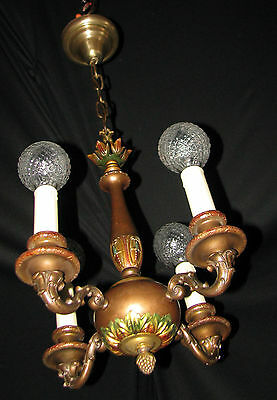 ANTIQUE ART DECO CAST BRASS CEILING CHANDELIER LIGHT FIXTURE  VINTAGE1930's