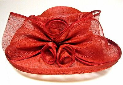 Nwt Flamboyant Red Straw  Dress Hat Wide Brim Flowers Derby Wedding Church New
