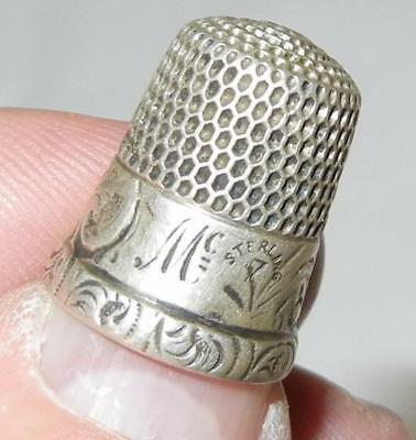 Antique Simons Bros Fancy Band Sterling Silver Sewing Thimble Size 7