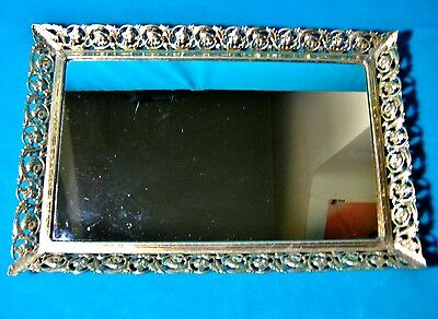 "Antique 1950s Era Table Mirror Dresser Vanity Tray Goldtone Ornate 15"" x 9"" MCM"