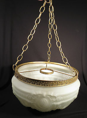 Antique Embossed Frosted Globe Hanging Shade Ceiling Light Fixture