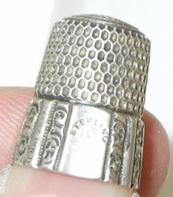 Antique Simons Bros Multi Sided Sterling Silver Sewing Thimble Size 6