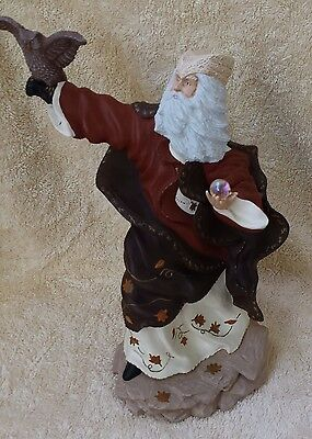 Ceramic Fall Magical Autumn Wizard w/ crystal ball & Owl hand made & painted