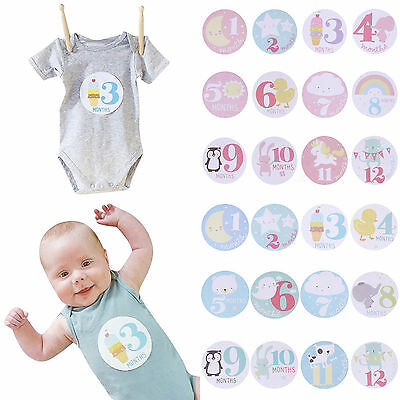 Baby Shower Girl Boy Infant Monthly Stickers New Born Photo Props 1 To 12months