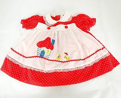 Vintage Baby Dress 12 Months Ducks House Red Polka Dot Pinafore Girls Collar