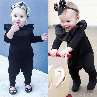 Newborn Baby Girl Ruffle Long Sleeve Romper Harem Pants Clothes Outfits US Stock