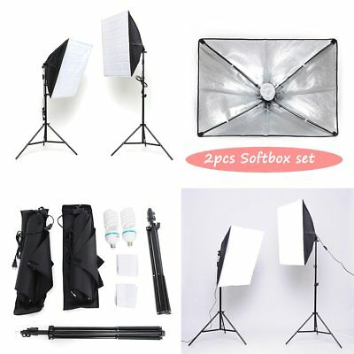 Kit d'Eclairage Continu 2 x Softbox 2x135W Ampoules 2xTrépieds Pour Photo Studio