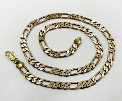 """VINTAGE SOLID BRASS FIGARO 7mm. WIDE 22"""" CHAIN NECKLACE  L465"""
