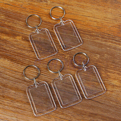 5 X Clear Acrylic Blank Photo Picture Frame Key Ring Keychain Keyring Gift HE