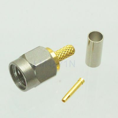 1pce Connector RP.SMA male jack crimp RG174 RG316 LMR100 stainless steel