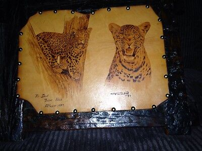Native African Art Leather Canvas Handsome Leopards Cat Wood Frame Signed 1997