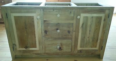 "Amish Built Unfinished Reclaimed Barnwood 60"" Custom Bathroom Vanity Cabinet"