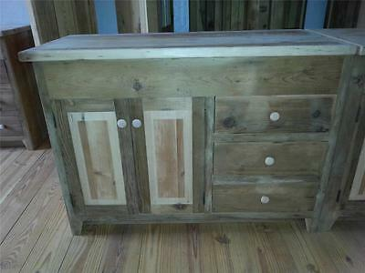 "Amish Handmade Unfinished Reclaimed Barn Wood 48"" Bath Vanity W/wood Top"