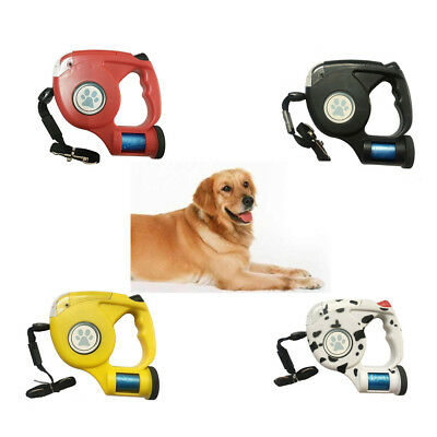 4.5M Automatic Retractable Dog Leash Pet Collar With 4 LED Light & Garbage Bags
