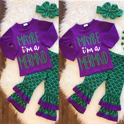 US Toddler Kid Baby Girl Little Mermaid Costume Outfits Tops Pants Headband 3PCS