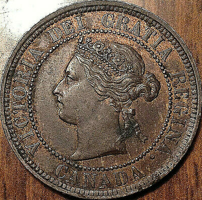 1884 Obverse #1 Canada Large 1 Cent Scarce Coin In Ultra Rare Condition !