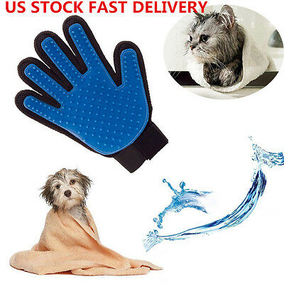 US Dog Cat Deshedding Grooming Groomer Brush Pet Cleaning Bath Massage Glove