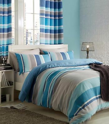 Catherine Lansfield Textured Stripe Teal Multi Duvet Cover Single Double King