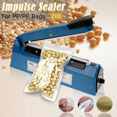 Impulse Heat Sealer Sealing 200mm For PP/PE Plastic Bags+Spare Element & Teflon