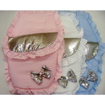 Stunning Baby Romany Spanish Style Sequins & Bow 3 in 1 Cosy Toes Footmuff
