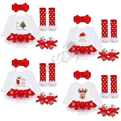 MY First Christmas Newborn Baby Girls Romper Bodysuit Outfits Set Christmas Xmas