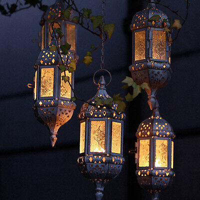 Moroccan Lantern Tea Light Candle Style Holder Hanging Home Decor Glass