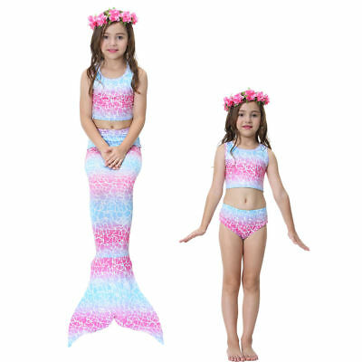 New Kids girls Mermaid Tail with Bikini Swimwear Swimming Costume Monofin 03
