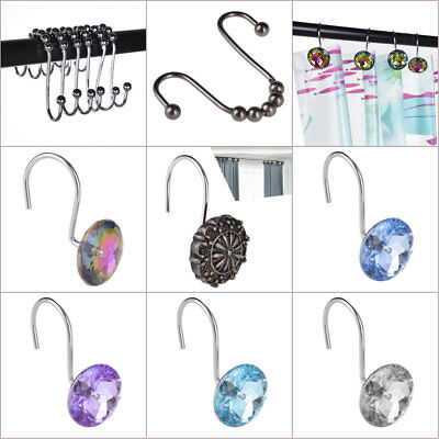 12 PCS Shower Curtain Rings Metal Acrylic Hooks Set Double Glide Bathroom Decor