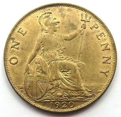 1920 George V 1d One Penny Coin High Grade - Great Britain.