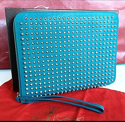 Authentic Christian Louboutin Cris Clutch - Peacock Blue Spikes Clutch