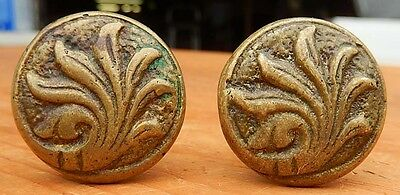 2 Cast Brass Antique 19th Century Decorative Drawer Pulls Knobs - Ships $4.95