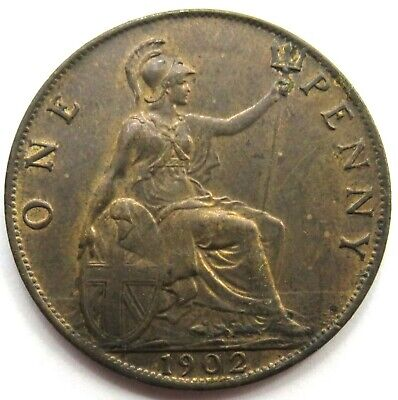 1902 Edward VII 1d One Penny Coin Higher Grade - Great Britain..