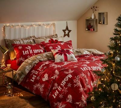 Catherine Lansfield Christmas Garland Red Xmas Duvet Cover Hearts Snowflakes