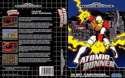 Atomic Runner Sega Mega Drive PAL Replacement Box Art Case Insert Cover Repro