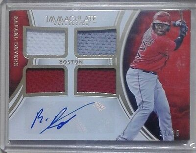 2016 panini immaculate auto quad patch card of Rafael devers, red sox. 12/25