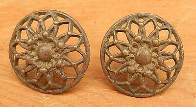 PAIR Antique 19th Century Pierced Cast Brass Drawer Pulls Knobs