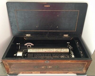 Lrg Antique 8 Tune Cylinder Music Box with Beautiful Inlaid Floral Design.