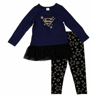 Supergirl Girls Character 2-Piece Long Sleeve Top Black Knit Leggings Outfit