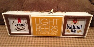 "Vintage Michelob & Natural Light Beer Lighted Sign. 52"" x 18"" HTF! Works!"