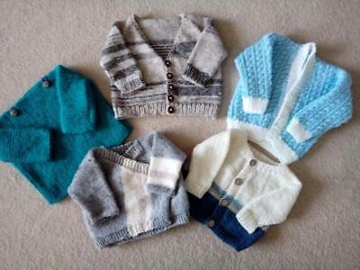 New HAND KNITTED Baby Boys Cardigan Jumper Newborn 0-3 Months YOU CHOOSE Clothes