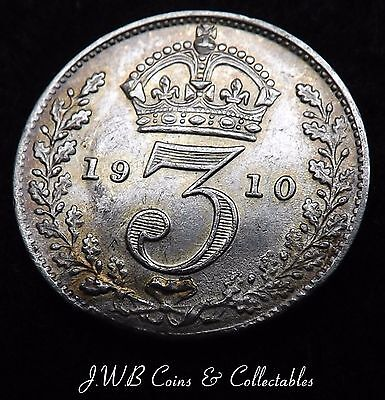 1910 Edward VII Silver Threepence Coin aUNC - Great Britain
