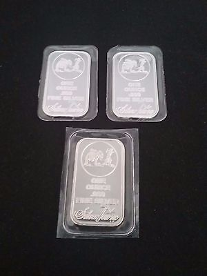 Lot of 3 -1 Oz  SilverTowne Logo .999 Fine Silver Bars (Sealed in Plastic)