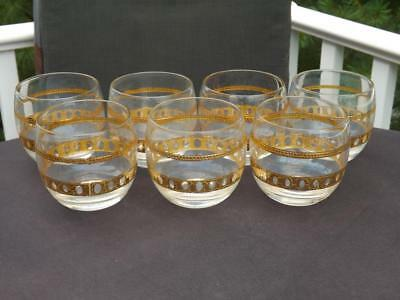 7 Culver Antigua Gold Roly Poly Cocktail Bar Glasses Hollywood Regency MCM