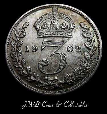 1902 Edward VII Silver Threepence Coin aUNC  - Great Britain
