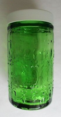"Vintage ~ Wheaton 4"" Forest Green Glass Condiment / Spice Jar with Lid ~ Mint"