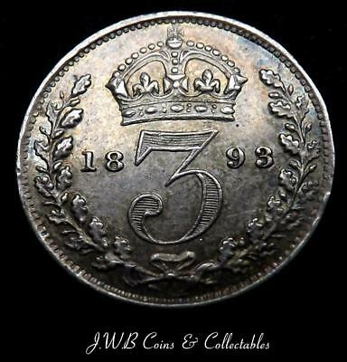 1893 Queen Victoria Silver Threepence Coin aUNC  - Great Britain
