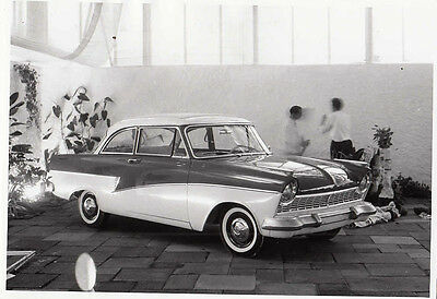Ford Two Saloon Displayed On Show Stand Period Photograph.