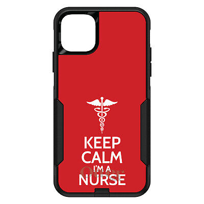 "OtterBox Commuter for iPhone 7 8 Plus X XS Max XR Red ""Keep Calm I'm a Nurse"""
