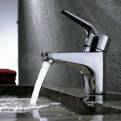 Home Bathroom Basin Sink Mixer Tap Chrome Hot&Cold Lever Taps Faucet + Free Hose