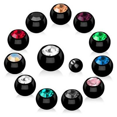 Piercing Screw-ball Spare Locking ball Stainless Steel Black with crystal